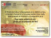 """Realizarán """"Expo Venta Solidaria"""" en apoyo a artesanos del norte del Perú, damnificados por el Niño Costero"""