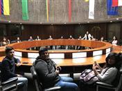 Durante su visita a la Secretaría General de la Comunidad Andina, los estudiantes conocieron los diversos ambientes, entre ellos la sala Rotonda.