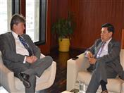 Previamente, el Secretario General de la CAN, Walker San Miguel se reunió con el Ministro de Agricultura y Ganadería del Ecuador, Rubén Flores.