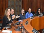 La bienvenida a los estudiantes de la Universidad Privada de Bolivia estuvo a cargo de la Secretaria General (a.i) de la CAN, Luz Marina Monroy