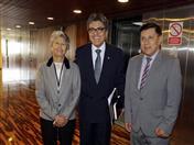 Secretaria Ejecutiva del Organismo Andino de Salud (ORAS – CONHU), Nila Heredia; Ministro de Salud del Perú, Abel Salinas y Secretario General de la Comunidad Andina, Walker San Miguel.