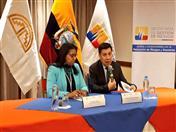 Conferencia de prensa de la Secretaria de Gestión de Riesgos del Ecuador, Alexandra Ocles y el Secretario General de la Comunidad Andina, Walker San Miguel. (Foto: Sec. Riesgos Ecuador)