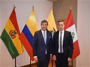 Secretario General de la CAN, Jorge Hernando Pedraza y Representante Comercial de la Federación de Rusia en el Perú, Oleg Gorlov.