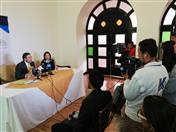 Conferencia de prensa en el Club Boyacá.